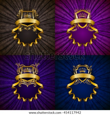Set of elegant golden frame with floral element, royal ornament, gold crown, shield, ribbon, place for text on purple drapery fabric. Luxury ornate background in vintage style. Vector illustration - stock vector