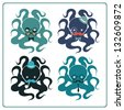 Set of elegant octopuses - stock vector
