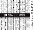 Set of 10 elegant seamless patterns with hand drawn decorative flowers, design elements. Floral patterns for wedding invitations, greeting cards, scrapbooking, print, gift wrap, manufacturing. - stock vector