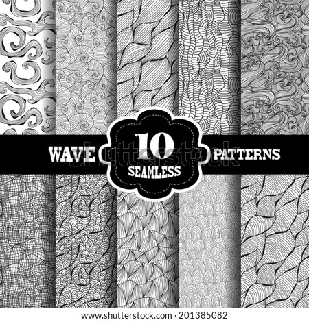 Set of 10 elegant seamless patterns with hand drawn decorative wave, design elements. Wave patterns for invitations, greeting cards, scrapbooking, print, gift wrap, manufacturing. - stock vector