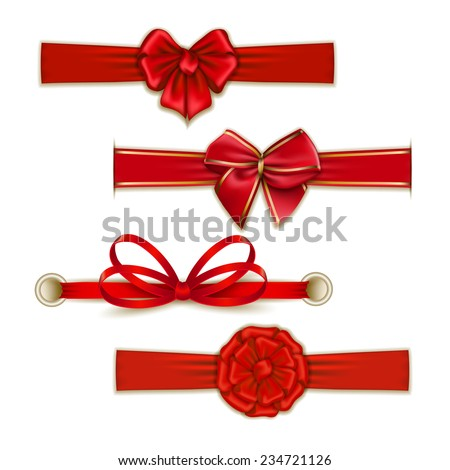 Set of elegant silk color bows, ribbons for design. Vector illustration EPS10.  - stock vector