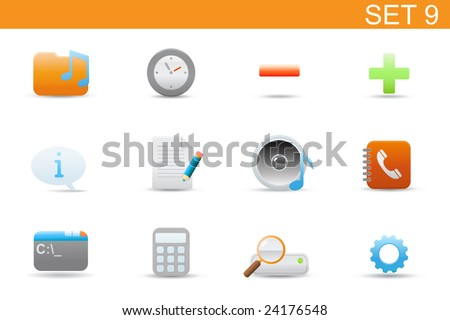 set of elegant simple icons for common computer and media devices functions. Set-9 - stock vector