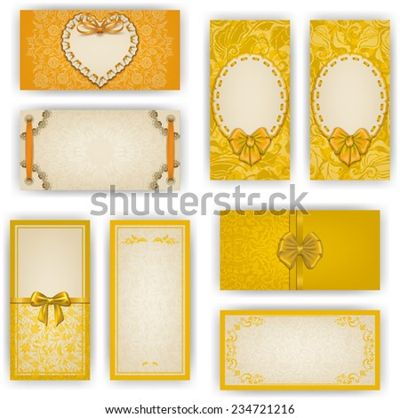 Set of elegant templates for luxury invitation, gift, greeting card with ruffles, lace ornament, ribbon, bow, heart frame, place for text. Floral elements ornate background. Vector illustration EPS 10 - stock vector