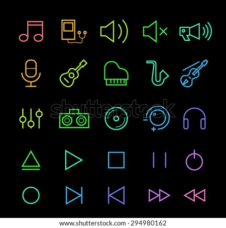Set of Elegant Universal Minimal Thin Line Colored Neon Stroke Music Icons with Color Gradient on Black Background. - stock vector