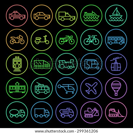 Set of Elegant Universal Minimal Thin Line Colored Neon Stroke Transport Icons with Color Gradient on Circular Buttons on Black Background. - stock vector