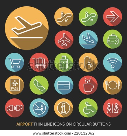 Set of Elegant Universal White Airport Minimalistic Isolated Thin Line Icons on Circular Colored Buttons on Black Background. - stock vector