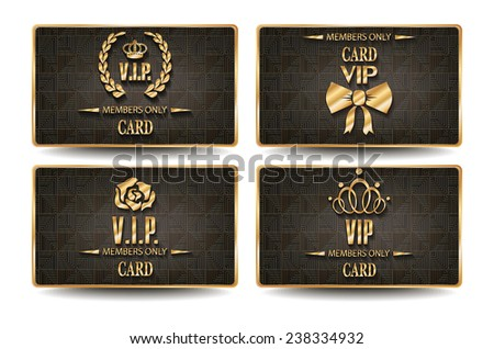 Set of elegant VIP cards with geometric texture - stock vector