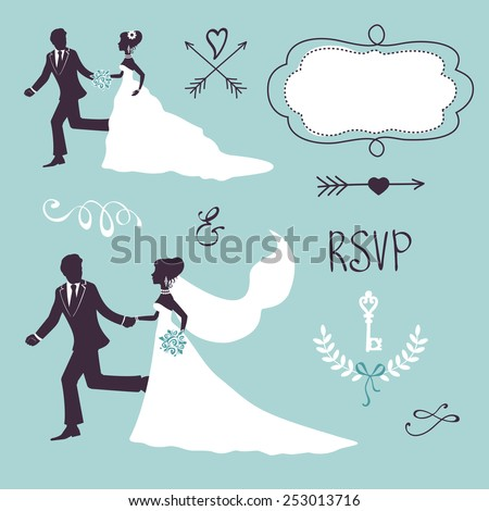 Set of elegant wedding couples in silhouette and other graphic elements  - stock vector