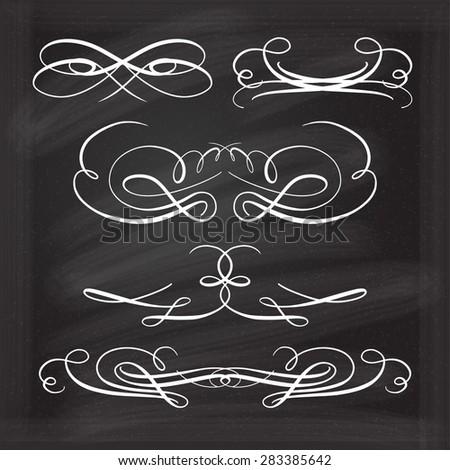 Set of elegant white flourishes for your design on the chalkboard. - stock vector