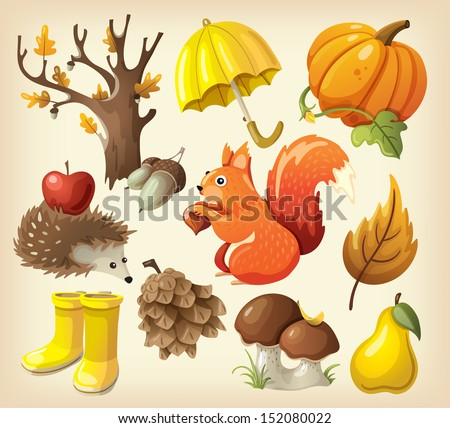 Set of elements and items that represent autumn - stock vector