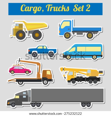 Set of elements cargo transportation: trucks, lorry for creating your own infographics or maps. Vector illustration - stock vector