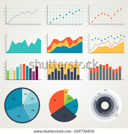 Set of elements chart for infographics, charts, graphs, diagrams. Chart in color. Vector chart, chart illustration, chart icons, chart color, chart graph, chart trading, chart info, web chart, charts - stock vector