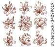 set of elements floral design - stock vector