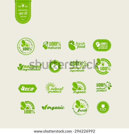 Set of elements for design - ecology, eco-friendly natural products and food. A vector. - stock vector