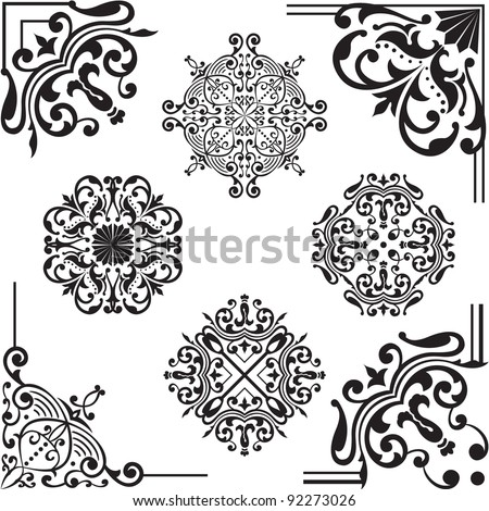 Set of elements for design on white