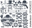 Set of elements for design retro emblem. Logo with a skull wearing a hat with a pistol and a dagger. Gangster tattoo. - stock vector