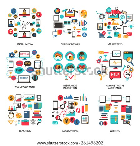 Set of elements for freelance job, career - stock vector