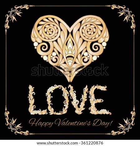 Set of elements for Happy Valentine's day card. Love Heart, frame. Vector illustration. In gold and black. Art deco style. - stock vector