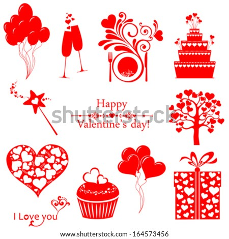 Set of elements for st. Valentine's day. Isolated on white background. Vector illustration  - stock vector