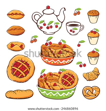 Set of elements for the bakery. Sketch, design elements, hand drawn. Vector illustration.