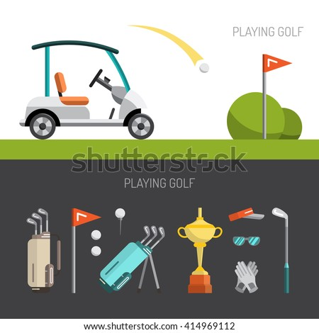 Set of elements for the game of Golf is painted in flat style. Putter for Golf. Vector golf icons. Flat vector golf set app. Golf stuff set isolated. Vector golf bag, golf car, golf course, golf ball
