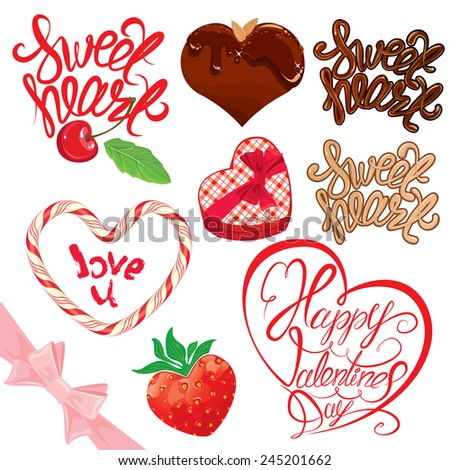 Set of elements for Valentines day design. Calligraphic text Sweet Heart, Happy Valentines day, chocolate heart, strawberry, gift box. - stock vector