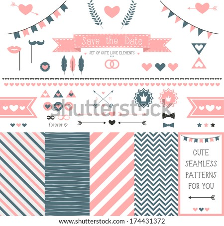 Set of elements for wedding design. save the date. The kit includes ribbons, bows, hearts, arrows and striped vector patterns