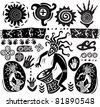 Set of elements in the style of primitive art - stock photo