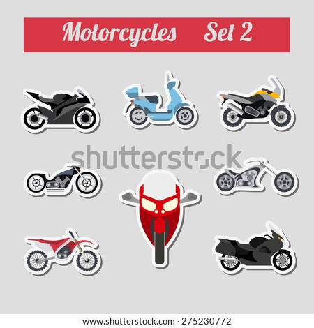 Set of elements motorcycles for creating your own infographics or maps - stock vector