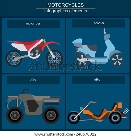 Set of elements motorcycles for creating your own infographics or maps. Vector illustration - stock vector