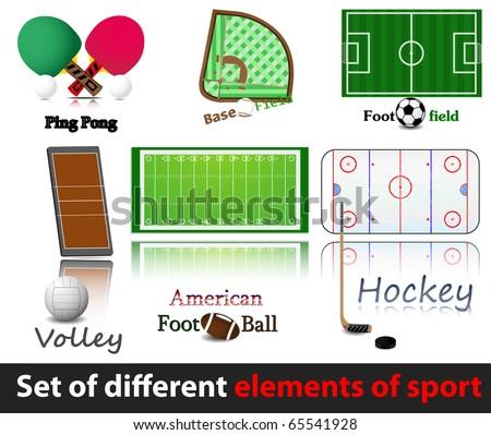 Set of elements of sport. Hockey, volley, baseball, amercan. football, soccer. - stock vector