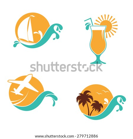 Set of emblems with sun and waves for summer holidays, vacation and travel design - stock vector
