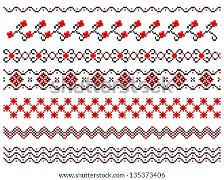Set of embroidery pattern lines - stock vector