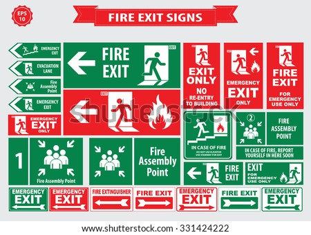 Set of emergency exit Sign (fire exit, emergency exit, fire assembly point, evacuation lane, Fire Extinguisher, For Emergency use only, no re-entry to building). - stock vector