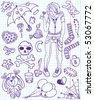 Set of emo doodles - stock vector