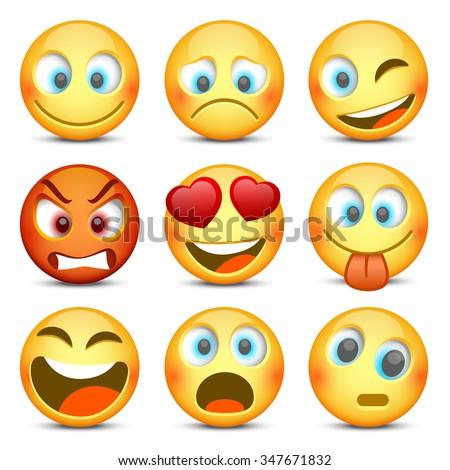 Set of Emoji. Vector illustration - stock vector