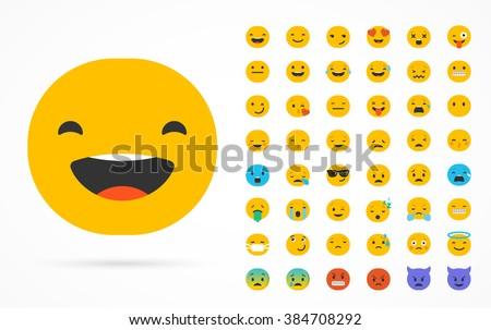 Set of emoticons, emoji isolated on white background, flat illustration - stock vector