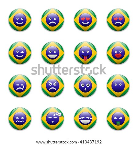 Set of emoticons, emoji isolated on white background with Brazil flag motive - vector illustration - stock vector