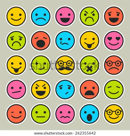 Set of emoticons, faces icons  - stock vector
