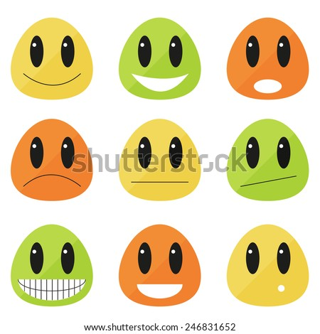 Set of 9 emoticons - flat blobs with different expressions - stock vector