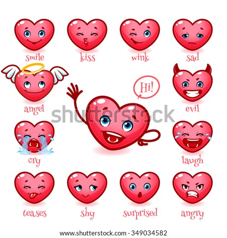 Set Of Emoticons Funny Heart For Valentineu0027s Day. Smile, Kiss, Wink, Sad