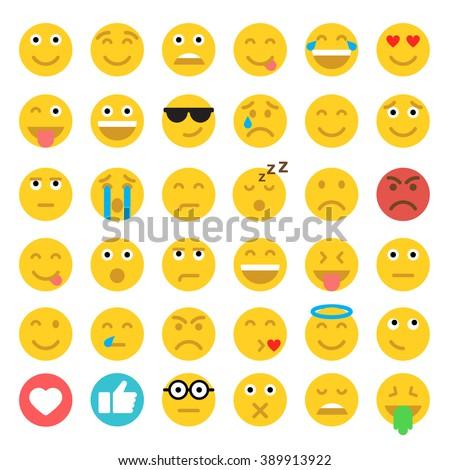 Set of Emoticons. Set of Emoji. Flat style illustrations - stock vector
