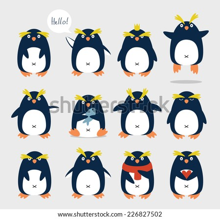 Set of emotional cute crested penguins. Cartoon character. - stock vector
