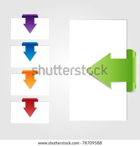Set of empty card with arrows. Vector. Easy to edit.