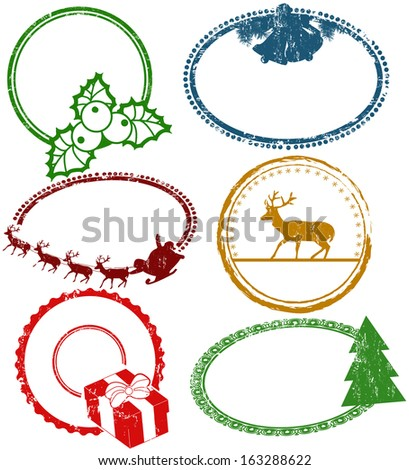Set of empty Christmas stamps isolated on white background, vector illustration - stock vector