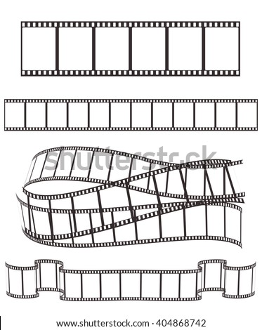 set of empty film strips various forms on white for Your design. vector illustration