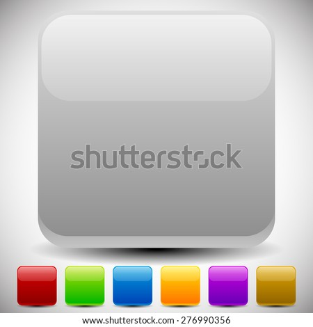 Set of empty glossy square buttons, square icons. Vector. - stock vector