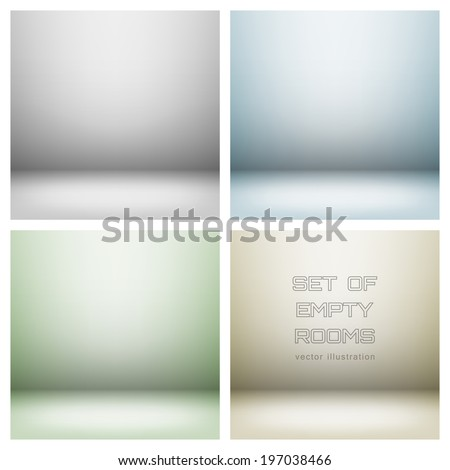Set of empty light interiors. EPS 10 Vector illustration. Used gradient mesh and transparency layers - stock vector