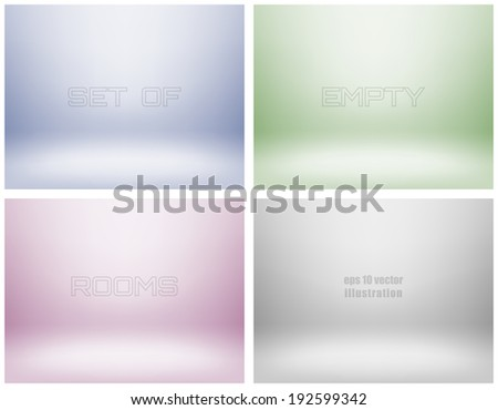Set of empty light interiors with copyspace. EPS 10 Vector illustration. Used gradient mesh and transparency layers - stock vector