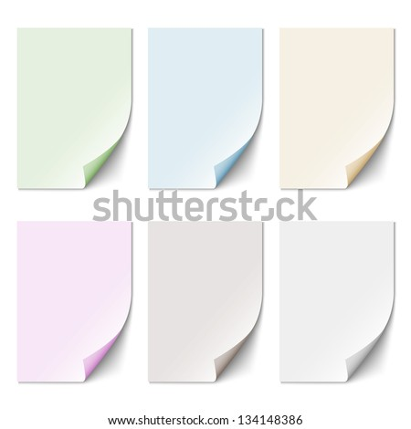 Set of empty paper sheet in pastel colors. Vector EPS10 - stock vector